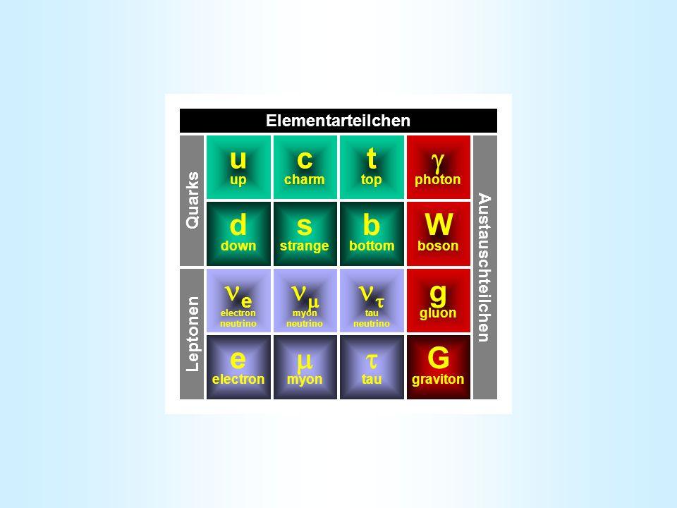u up d down s strange b bottom t top c charm Quarks e electron tau neutrino myon tau myon neutrino e electron neutrino Leptonen g gluon G graviton photon W boson Austauschteilchen Elementarteilchen Standardmodell