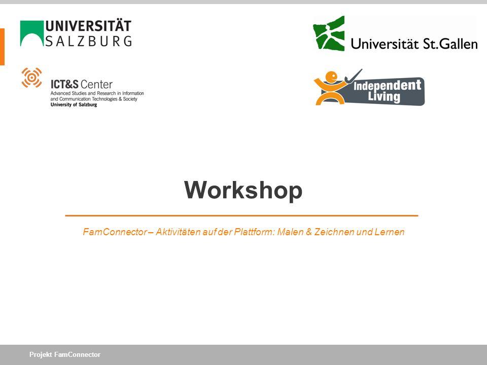 Projekt FamConnector Workshop FamConnector – Aktivitäten auf der Plattform: Malen & Zeichnen und Lernen