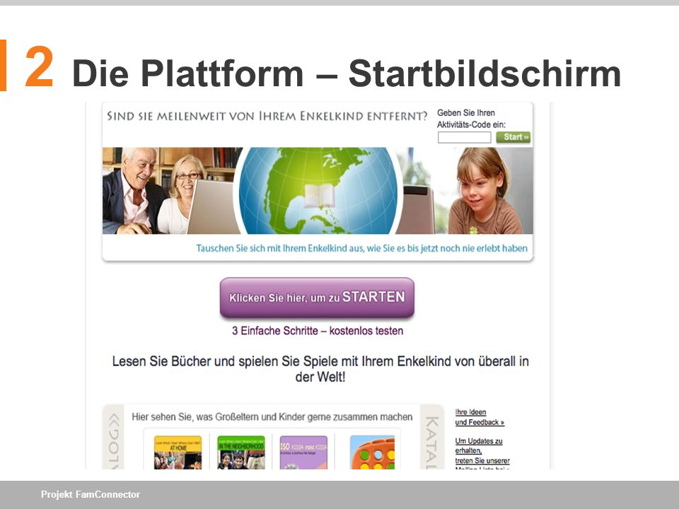 Projekt FamConnector 2 Die Plattform – Startbildschirm