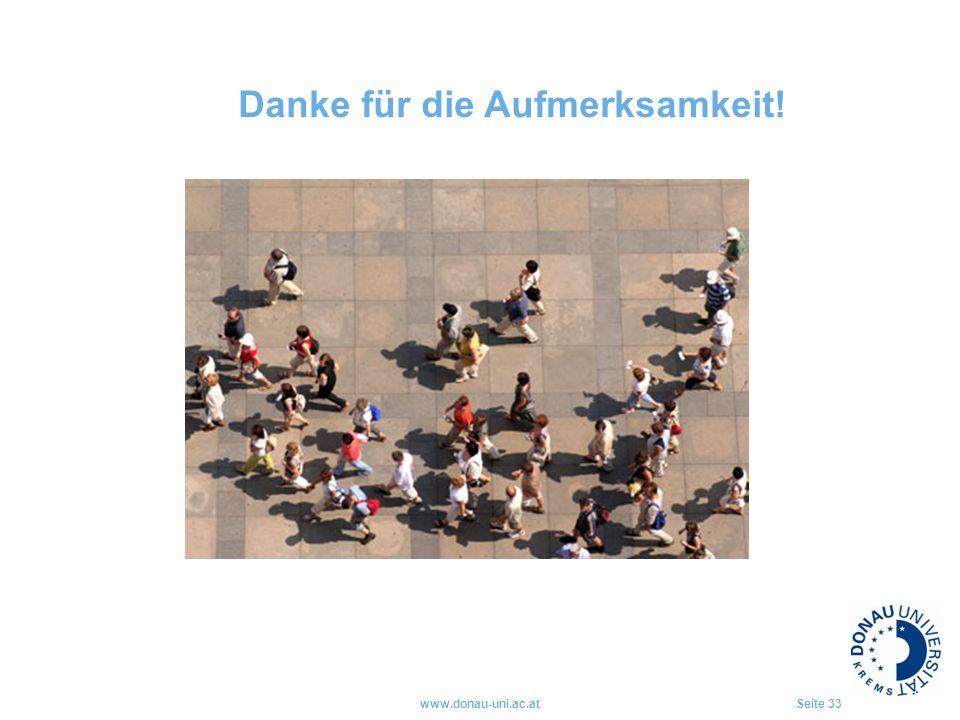 www.donau-uni.ac.atSeite 33 Danke für die Aufmerksamkeit!