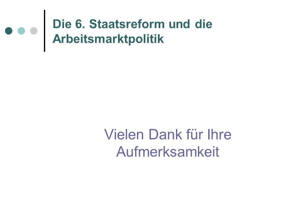 Die 6. Staatsreform und die Arbeitsmarktpolitik Vielen Dank für Ihre Aufmerksamkeit