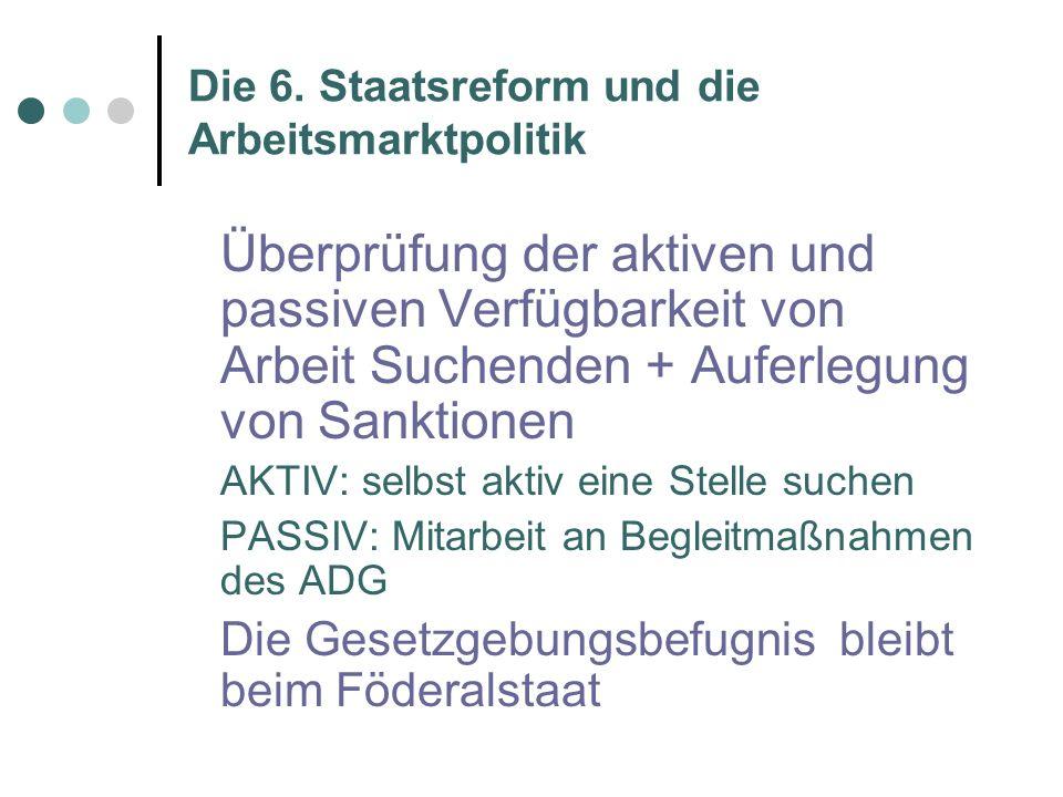 Die 6.Staatsreform und die Arbeitsmarktpolitik Der bezahlte Bildungsurlaub wird regionalisiert.