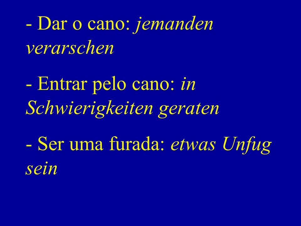 - Dar o cano: jemanden verarschen - Entrar pelo cano: in Schwierigkeiten geraten - Ser uma furada: etwas Unfug sein
