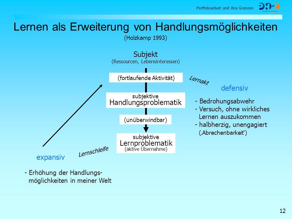 Portfolioarbeit und ihre Grenzen 12 Lernen als Erweiterung von Handlungsmöglichkeiten Subjekt (Ressourcen, Lebensinteressen) subjektive Handlungsprobl