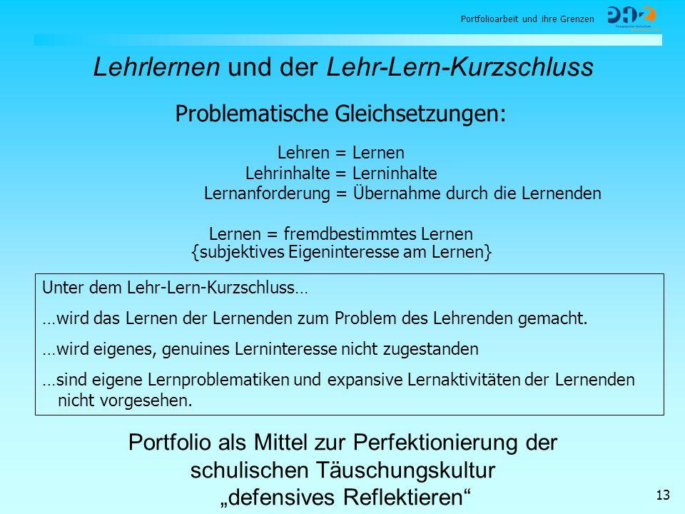 Portfolioarbeit und ihre Grenzen 13 Lehrlernen und der Lehr-Lern-Kurzschluss Lernen = fremdbestimmtes Lernen {subjektives Eigeninteresse am Lernen} Un
