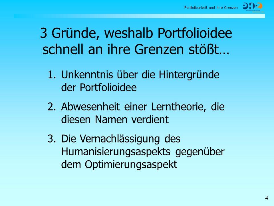 Portfolioarbeit und ihre Grenzen 4 3 Gründe, weshalb Portfolioidee schnell an ihre Grenzen stößt… 1.Unkenntnis über die Hintergründe der Portfolioidee