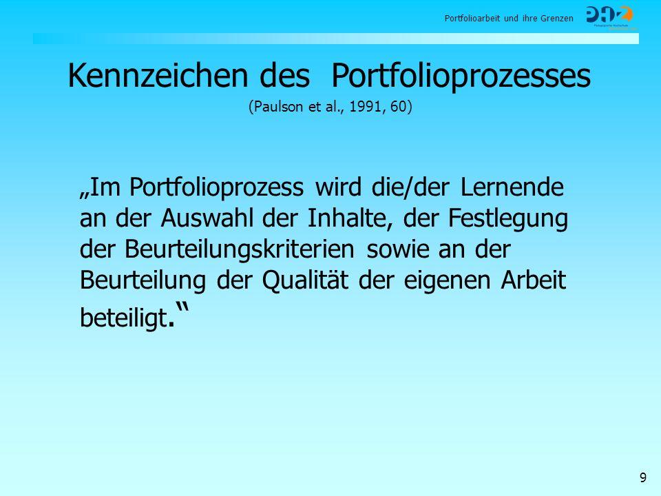 Portfolioarbeit und ihre Grenzen 9 Im Portfolioprozess wird die/der Lernende an der Auswahl der Inhalte, der Festlegung der Beurteilungskriterien sowi