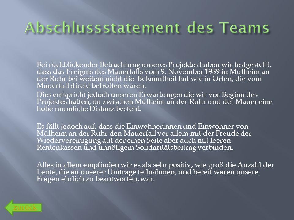 Bei rückblickender Betrachtung unseres Projektes haben wir festgestellt, dass das Ereignis des Mauerfalls vom 9. November 1989 in Mülheim an der Ruhr