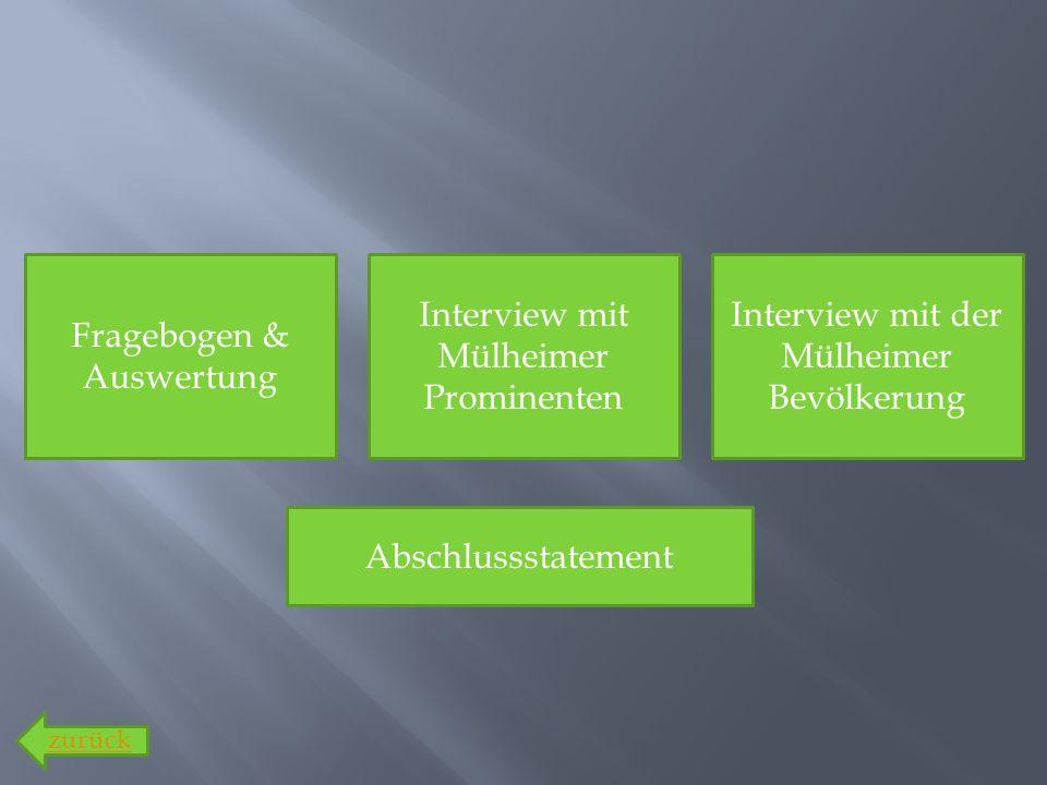 Fragebogen & Auswertung Interview mit der Mülheimer Bevölkerung Interview mit Mülheimer Prominenten Abschlussstatement zurück