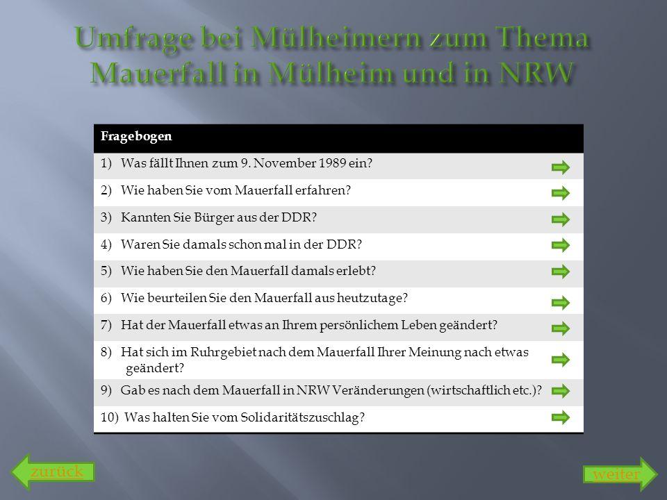 Fragebogen 1) Was fällt Ihnen zum 9. November 1989 ein? 2) Wie haben Sie vom Mauerfall erfahren? 3) Kannten Sie Bürger aus der DDR? 4) Waren Sie damal