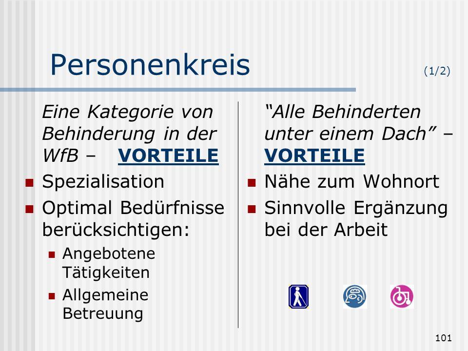 101 Personenkreis (1/2) Eine Kategorie von Behinderung in der WfB – VORTEILE Spezialisation Optimal Bedürfnisse berücksichtigen: Angebotene Tätigkeite
