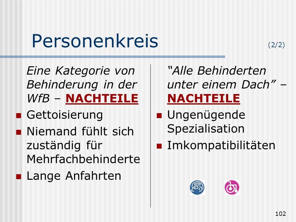 102 Personenkreis (2/2) Eine Kategorie von Behinderung in der WfB – NACHTEILE Gettoisierung Niemand fühlt sich zuständig für Mehrfachbehinderte Lange
