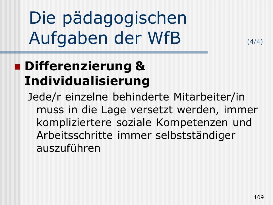 109 Die pädagogischen Aufgaben der WfB (4/4) Differenzierung & Individualisierung Jede/r einzelne behinderte Mitarbeiter/in muss in die Lage versetzt