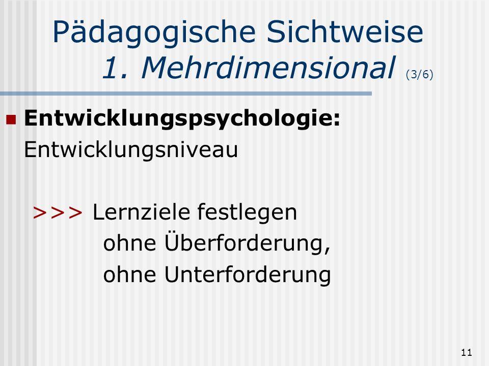 11 Pädagogische Sichtweise 1. Mehrdimensional (3/6) Entwicklungspsychologie: Entwicklungsniveau >>> Lernziele festlegen ohne Überforderung, ohne Unter