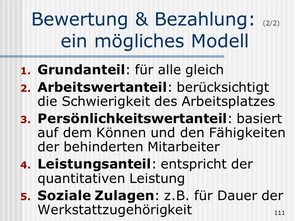 111 Bewertung & Bezahlung: (2/2) ein mögliches Modell 1. Grundanteil: für alle gleich 2. Arbeitswertanteil: berücksichtigt die Schwierigkeit des Arbei