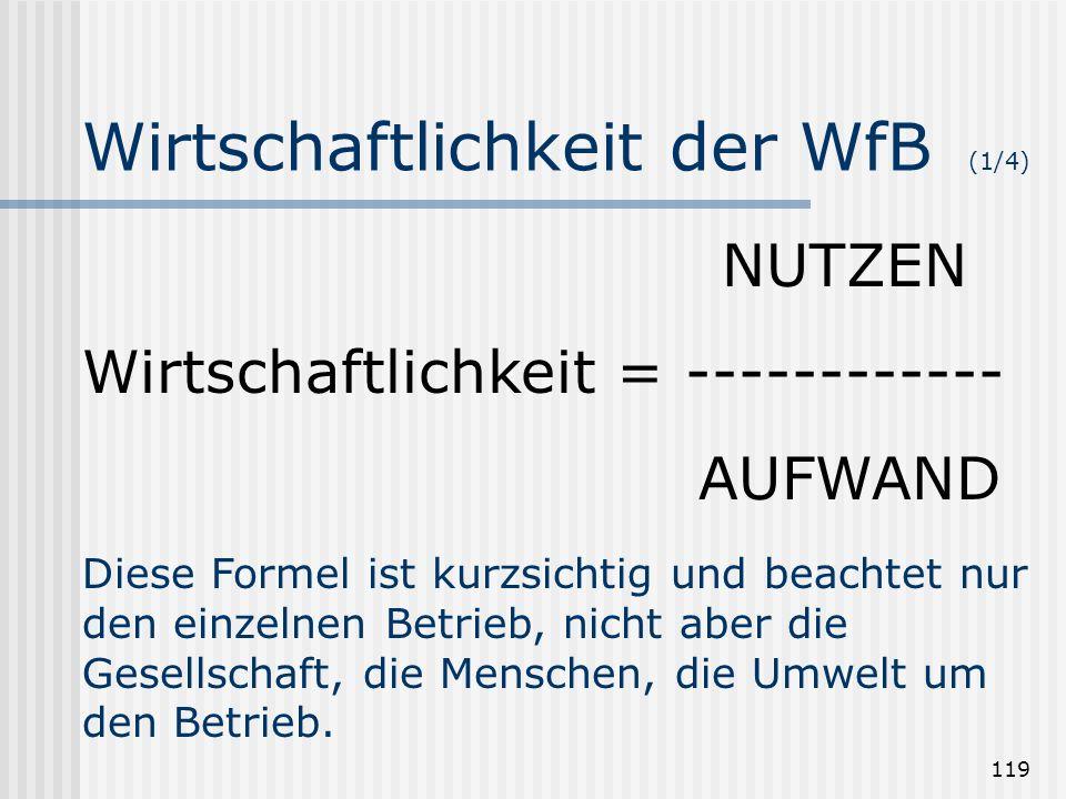 119 Wirtschaftlichkeit der WfB (1/4) NUTZEN Wirtschaftlichkeit = ------------ AUFWAND Diese Formel ist kurzsichtig und beachtet nur den einzelnen Betr