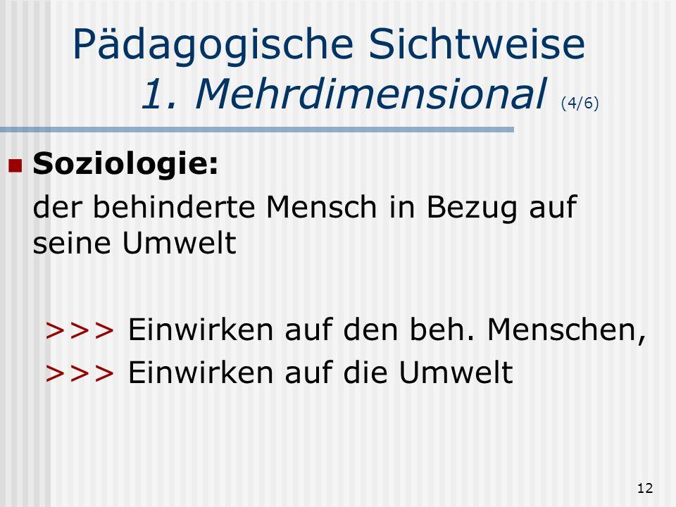 12 Pädagogische Sichtweise 1. Mehrdimensional (4/6) Soziologie: der behinderte Mensch in Bezug auf seine Umwelt >>> Einwirken auf den beh. Menschen, >