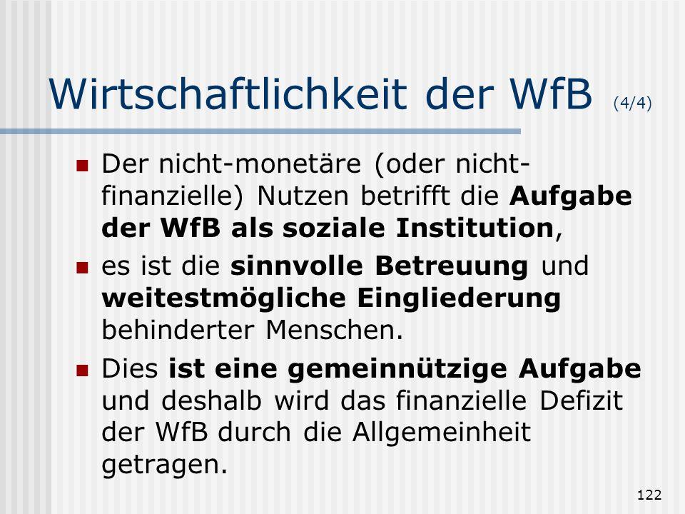 122 Wirtschaftlichkeit der WfB (4/4) Der nicht-monetäre (oder nicht- finanzielle) Nutzen betrifft die Aufgabe der WfB als soziale Institution, es ist