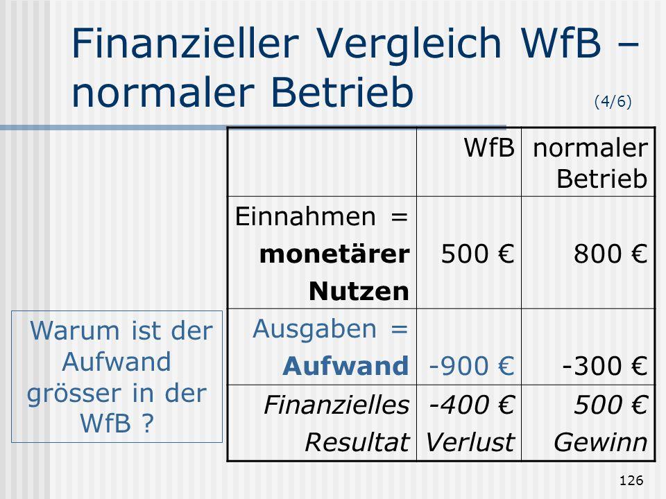 126 Finanzieller Vergleich WfB – normaler Betrieb (4/6) WfBnormaler Betrieb Einnahmen = monetärer Nutzen 500 800 Ausgaben = Aufwand-900 -300 Finanziel