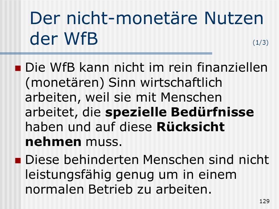 129 Der nicht-monetäre Nutzen der WfB (1/3) Die WfB kann nicht im rein finanziellen (monetären) Sinn wirtschaftlich arbeiten, weil sie mit Menschen ar