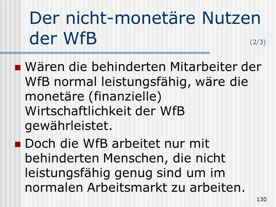 130 Der nicht-monetäre Nutzen der WfB (2/3) Wären die behinderten Mitarbeiter der WfB normal leistungsfähig, wäre die monetäre (finanzielle) Wirtschaf