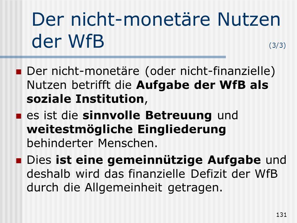 131 Der nicht-monetäre Nutzen der WfB (3/3) Der nicht-monetäre (oder nicht-finanzielle) Nutzen betrifft die Aufgabe der WfB als soziale Institution, e