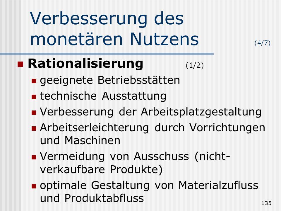 135 Verbesserung des monetären Nutzens (4/7) Rationalisierung (1/2) geeignete Betriebsstätten technische Ausstattung Verbesserung der Arbeitsplatzgest