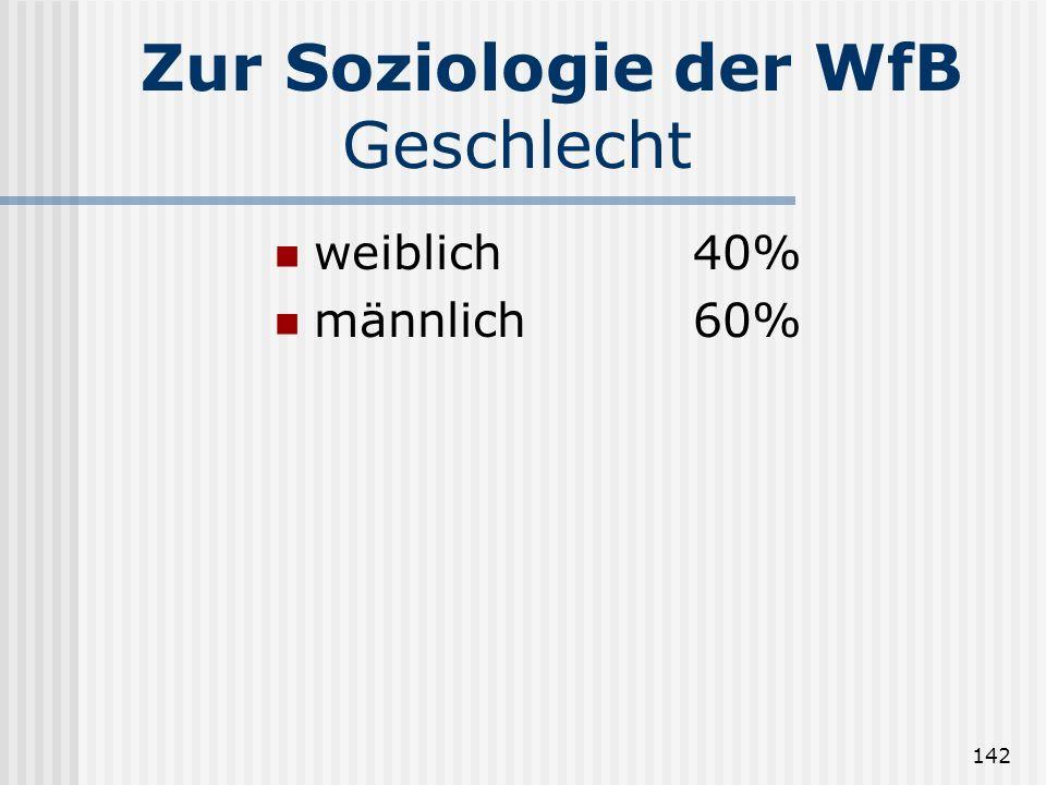 142 Zur Soziologie der WfB Geschlecht weiblich40% männlich60%