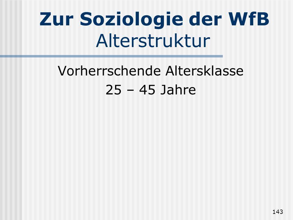 143 Zur Soziologie der WfB Alterstruktur Vorherrschende Altersklasse 25 – 45 Jahre
