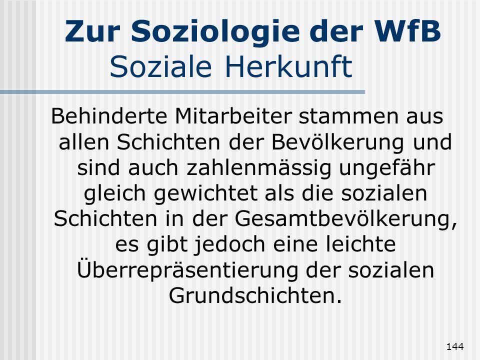 144 Zur Soziologie der WfB Soziale Herkunft Behinderte Mitarbeiter stammen aus allen Schichten der Bevölkerung und sind auch zahlenmässig ungefähr gle