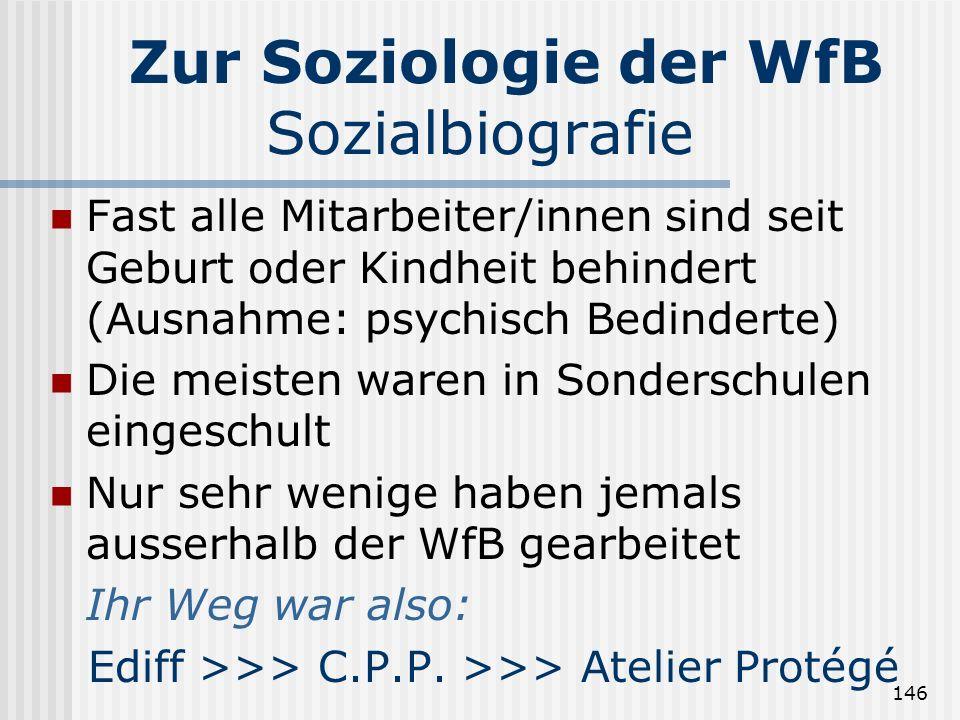 146 Zur Soziologie der WfB Sozialbiografie Fast alle Mitarbeiter/innen sind seit Geburt oder Kindheit behindert (Ausnahme: psychisch Bedinderte) Die m