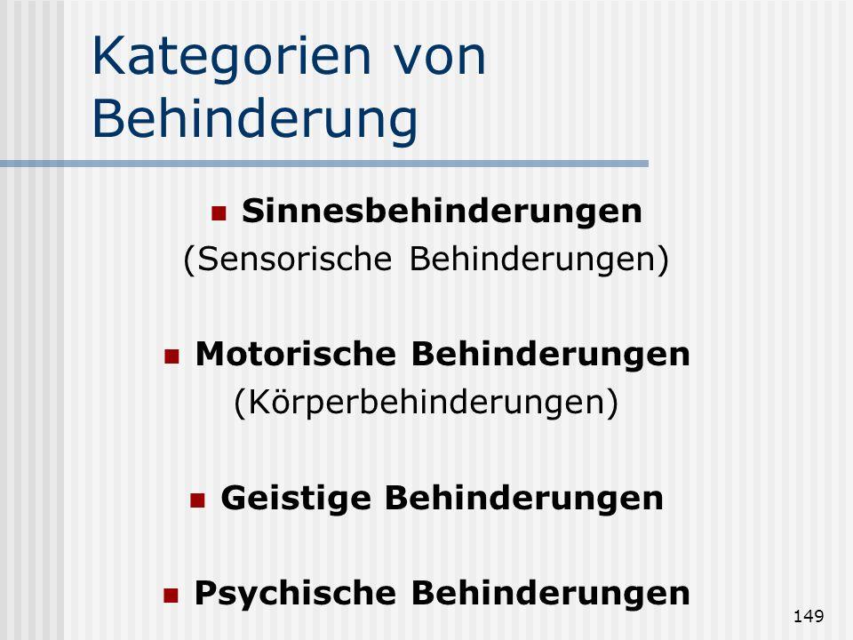149 Kategorien von Behinderung Sinnesbehinderungen (Sensorische Behinderungen) Motorische Behinderungen (Körperbehinderungen) Geistige Behinderungen P
