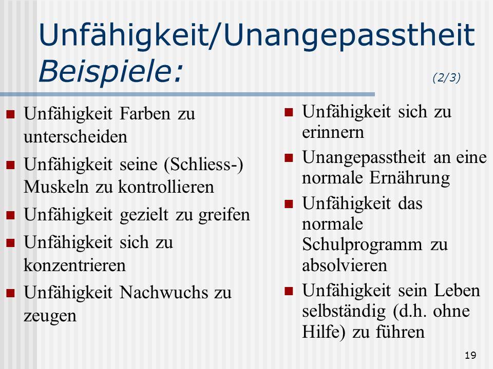 19 Unfähigkeit/Unangepasstheit Beispiele: (2/3) Unfähigkeit Farben zu unterscheiden Unfähigkeit seine (Schliess-) Muskeln zu kontrollieren Unfähigkeit