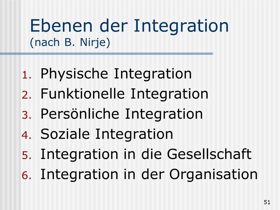 51 Ebenen der Integration (nach B. Nirje) 1. Physische Integration 2. Funktionelle Integration 3. Persönliche Integration 4. Soziale Integration 5. In