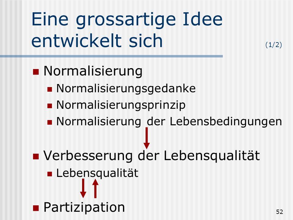 52 Eine grossartige Idee entwickelt sich (1/2) Normalisierung Normalisierungsgedanke Normalisierungsprinzip Normalisierung der Lebensbedingungen Verbe