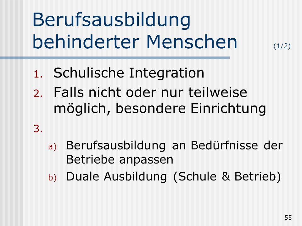 55 Berufsausbildung behinderter Menschen (1/2) 1. Schulische Integration 2. Falls nicht oder nur teilweise möglich, besondere Einrichtung 3. a) Berufs