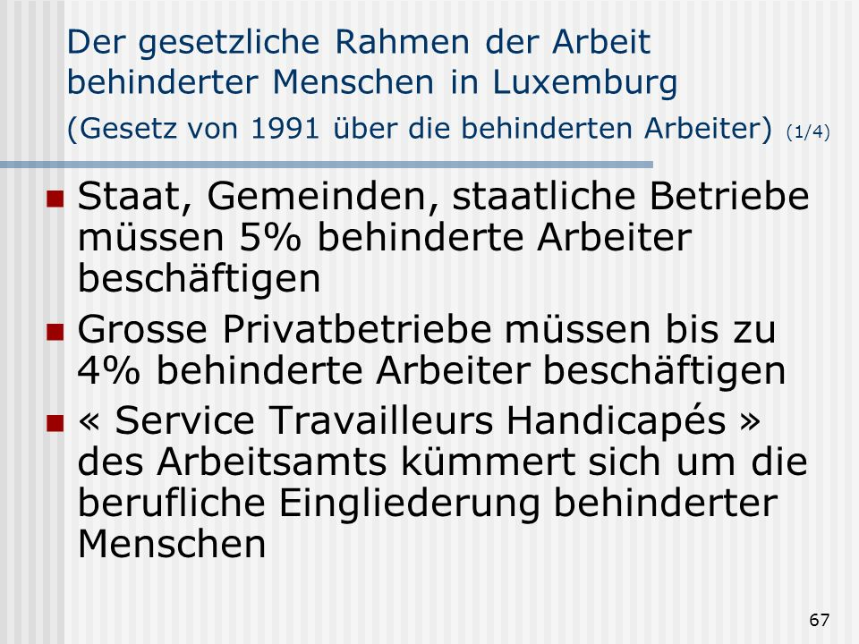 67 Der gesetzliche Rahmen der Arbeit behinderter Menschen in Luxemburg (Gesetz von 1991 über die behinderten Arbeiter) (1/4) Staat, Gemeinden, staatli