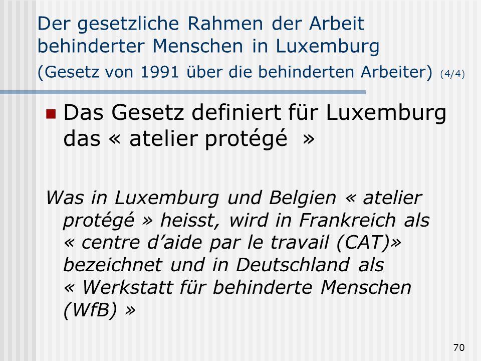 70 Der gesetzliche Rahmen der Arbeit behinderter Menschen in Luxemburg (Gesetz von 1991 über die behinderten Arbeiter) (4/4) Das Gesetz definiert für