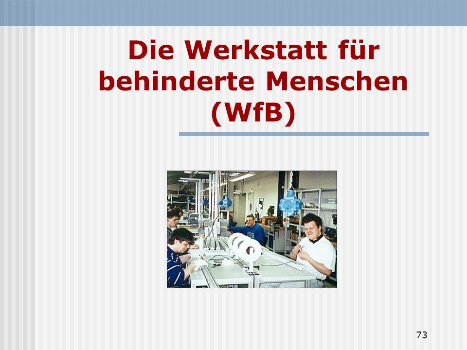 73 Die Werkstatt für behinderte Menschen (WfB)