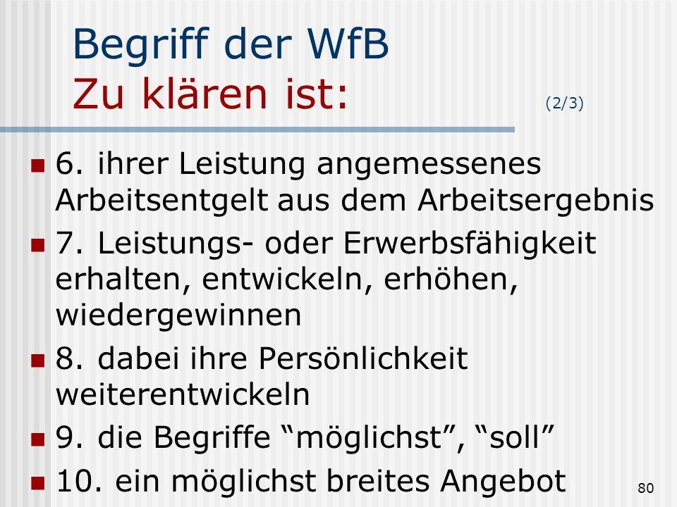 80 Begriff der WfB Zu klären ist: (2/3) 6.ihrer Leistung angemessenes Arbeitsentgelt aus dem Arbeitsergebnis 7.Leistungs- oder Erwerbsfähigkeit erhalt