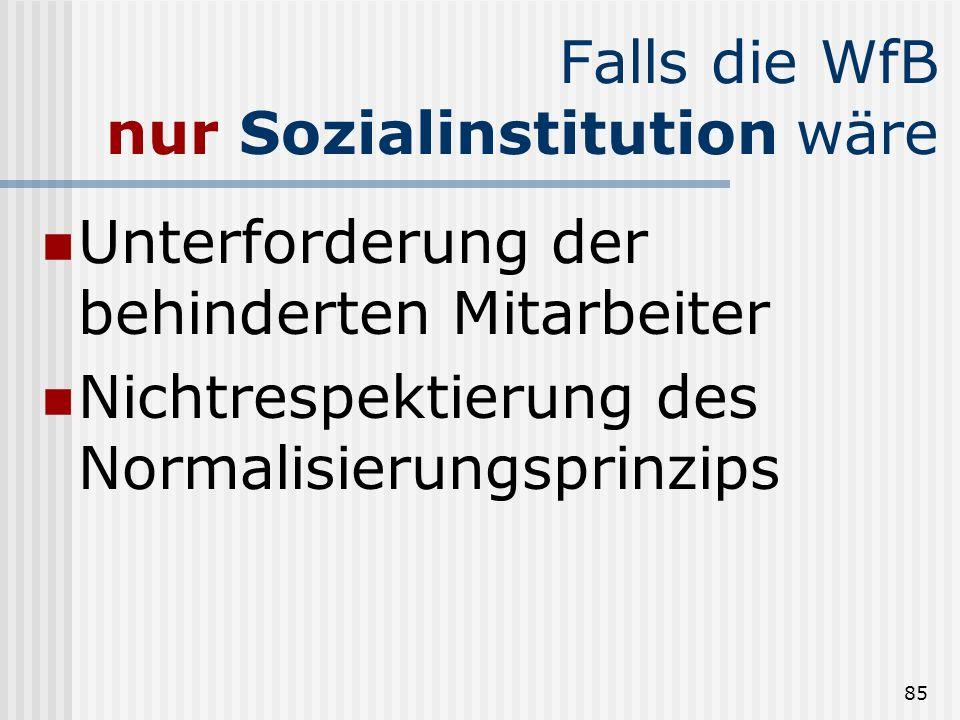 85 Falls die WfB nur Sozialinstitution wäre Unterforderung der behinderten Mitarbeiter Nichtrespektierung des Normalisierungsprinzips