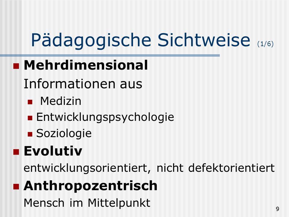 9 Pädagogische Sichtweise (1/6) Mehrdimensional Informationen aus Medizin Entwicklungspsychologie Soziologie Evolutiv entwicklungsorientiert, nicht de