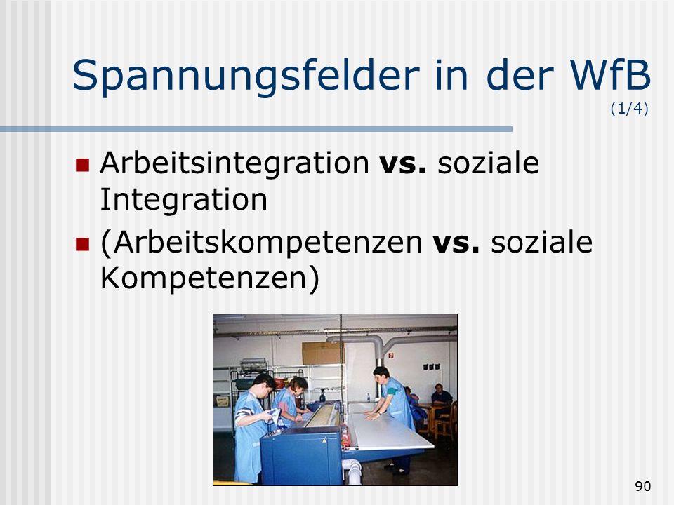 90 Spannungsfelder in der WfB (1/4) Arbeitsintegration vs. soziale Integration (Arbeitskompetenzen vs. soziale Kompetenzen)