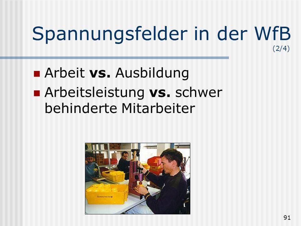 91 Spannungsfelder in der WfB (2/4) Arbeit vs. Ausbildung Arbeitsleistung vs. schwer behinderte Mitarbeiter