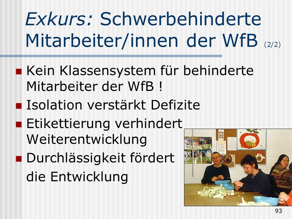 93 Kein Klassensystem für behinderte Mitarbeiter der WfB ! Isolation verstärkt Defizite Etikettierung verhindert Weiterentwicklung Durchlässigkeit för