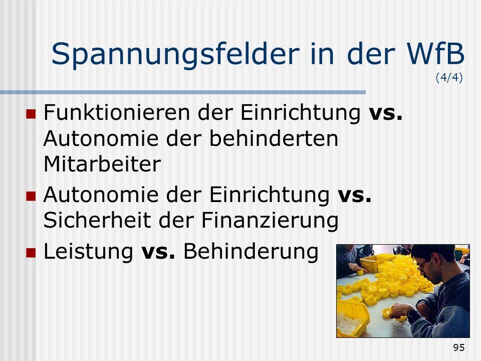 95 Spannungsfelder in der WfB (4/4) Funktionieren der Einrichtung vs. Autonomie der behinderten Mitarbeiter Autonomie der Einrichtung vs. Sicherheit d