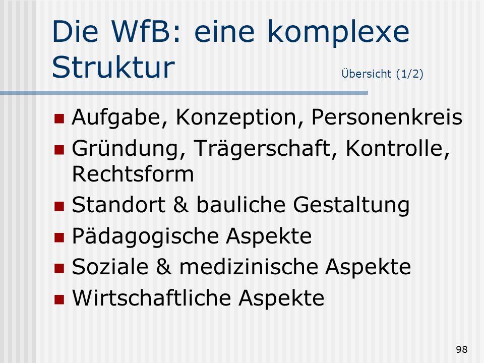 98 Die WfB: eine komplexe Struktur Übersicht (1/2) Aufgabe, Konzeption, Personenkreis Gründung, Trägerschaft, Kontrolle, Rechtsform Standort & baulich