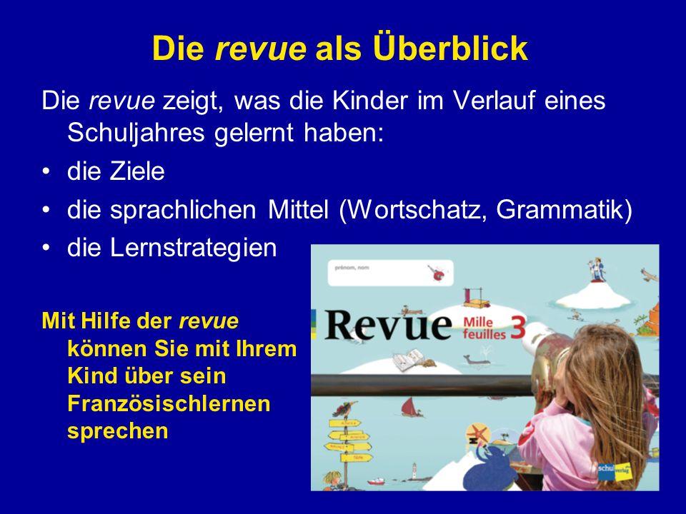 Die revue zeigt, was die Kinder im Verlauf eines Schuljahres gelernt haben: die Ziele die sprachlichen Mittel (Wortschatz, Grammatik) die Lernstrategi