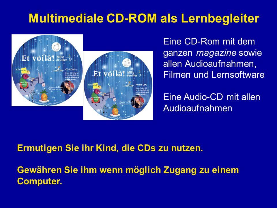 Multimediale CD-ROM als Lernbegleiter Eine CD-Rom mit dem ganzen magazine sowie allen Audioaufnahmen, Filmen und Lernsoftware Eine Audio-CD mit allen