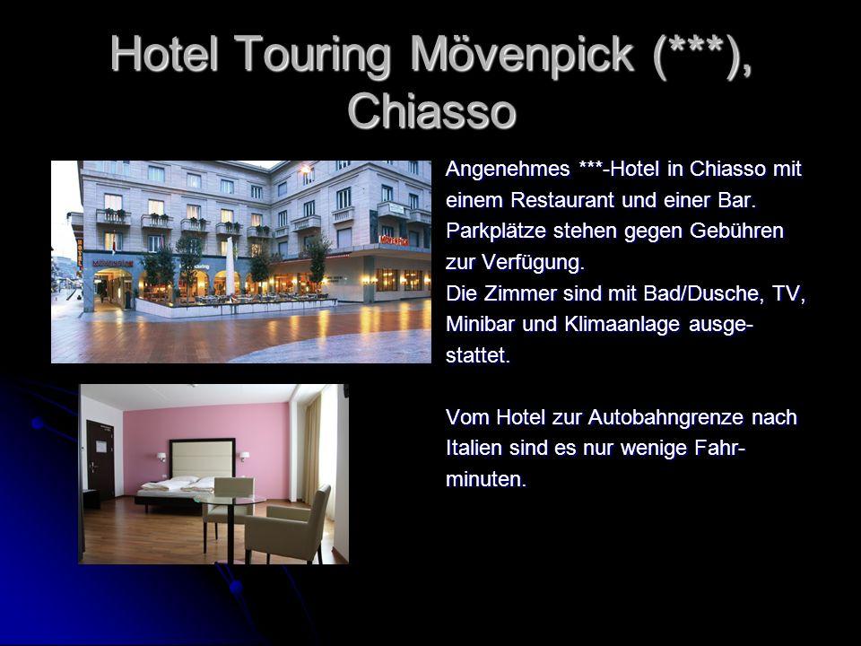 Hotel Touring Mövenpick (***), Chiasso Angenehmes ***-Hotel in Chiasso mit einem Restaurant und einer Bar. Parkplätze stehen gegen Gebühren zur Verfüg